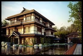 Japanese pond with koi carp