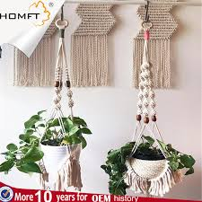 china elegant plant hanger set of 4 4 legs 39 inch pure macrame handmade cotton rope indoor outdoor balcony patio deck ceiling plant holder china plant