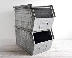 metal storage crates. Fine Storage Vintage Stackable Metal Storage Bin  Industrial Intended Crates U