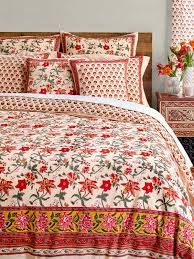 tropical red country cotton duvet cover