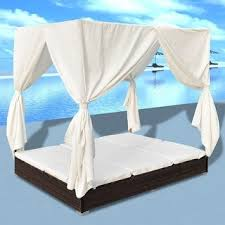 Shop vidaXL <b>Outdoor Lounge Bed with</b> Curtains Poly Rattan ...