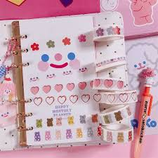 INS <b>Lovely</b> Fruit Girl Heart Decorative Adhesive Tape Koren Washi ...