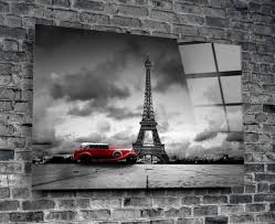 eiffel tower red car contrast tempered