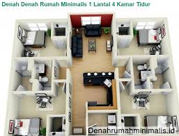 contoh gambar denah rumah sederhana 1 lantai 4 kamar tidur denah