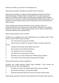 describe a place essay example example of a harvard referenced  satirical essay example examples of satirical essays academic example of a satire essay gxart orgexample satire