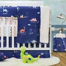 brandream dinosaur crib bedding sets for boys 100 cotton chevron blue baby nursery bedding 4 peices