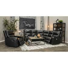 black leather match 5 piece power reclining sectional sofa megan