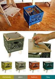crate stool repurposed milk crate xtool combo colab upcycled furniture kickstarter