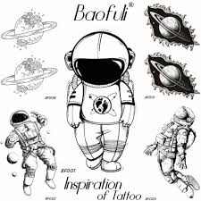 Baofuli мужские черные водостойкие временные татуировки астронавт