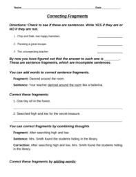 Sentence Fragments Sentence Fragment Mini Lesson By Mrs Bart Teachers Pay Teachers