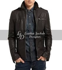 Designer Black Leather Jacket Mens Black Biker Style Vintage Bluster Leather Jacket