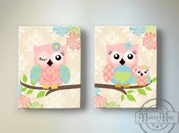Small Picture Kids Wall Art Owl Nursery Baby Girl Owl Decor Owl Nursery Decor