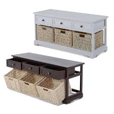wooden coffee table with seagrass wicker storage baskets