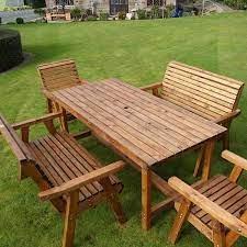 6 seater sustainable wood garden dining