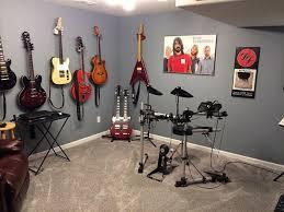Music room decor with unique guitar hangers