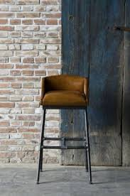 BAR STOOL WITH UPHOLSTERED LEATHER LOW CAMEL BACK SEAT OVER INDUSTRIAL PIPE  LEGS AND H STRETCHER Leather Bar Stools With Back11