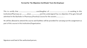 Format Of Employer Certificate 10 Free Sample No Objection Certificate Templates