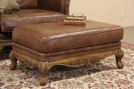 French Ottoman sold bernhardt country french leather & carved fruitwood vintage 7103 by xevi.us