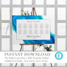 Wave Seating Chart Ethereal Wave Wedding Seating Charttemplate Instant Download Beach Wedding Seating Chart Sign Diy Fully Editable Printable Templett V01