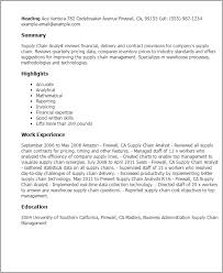 Resume Templates: Supply Chain Analyst
