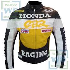 honda racing cbr motorcycle leather jacket yellow motorbike cowhide biker coat