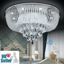 remote control ceiling light new modern genuine crystal led flush ceiling light chandelier remote control cordless
