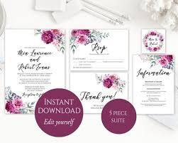 Wedding Invitations Templates Purple Wedding Invitation Template Purple Wedding Invitation Etsy