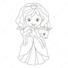 Illustratie Van Een Prachtige Prinses Met De Baby Eenhoorn With