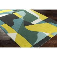 green and yellow rug grey