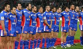 the french team lining up before their match against new zealand in the 2009 four nations tournament