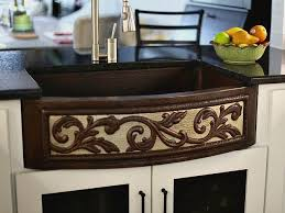 33 copper farmhouse sink with nickel two tone scroll