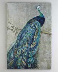 framed handmade peacock oil painting with silver foil canvas for wall