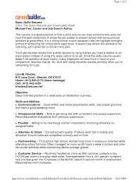 Basic Resume Examples Skills Free Resume Templates