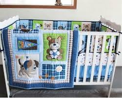 sports puppy baby crib cot bedding