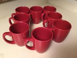 Red ceramic mug with black coffee, white coffee espresso coffee cup cafe, mug, tea, teacup png. Corelle Stoneware Deep Red Coffee Mugs Cups Set Of 8 1907300639
