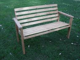 beautiful garden with charming diy patio bench design idea made of wooden material again cozy back
