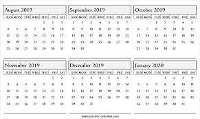 2020 Calendar Editable Online Calendar August 2019 To January 2020 Download Template
