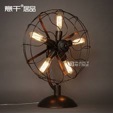 vintage rh loft edison electric fan metal table lamp american loft rh black with rust