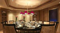 unique dining room lighting modern elegant round dining table furniture with beige upholstered chair and dark wooden design with pink ceiling light style