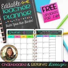 Teacher Organizer Planner Editable Teacher Planner Organizer Buildyourownbinder Chalkboard Brights