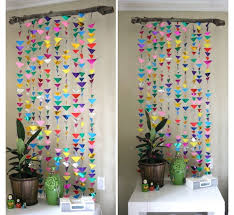wall decoration ideas with paper colorful triangle pattern handmade curtain  diy upcycled paper wall decor ideas