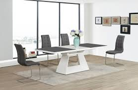 cream compact extending dining table: white high gloss black glass extending dining table and  chairs