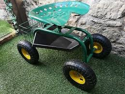 garden cart rolling seat work tool tray