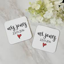 personalised mr and mrs wooden coaster wedding gift