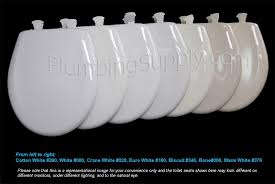 a range of white toilet seats for color comparison for larger view