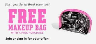 free makeup bag with any pink purchase