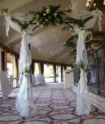 indoor wedding arches. indoor wedding arch decorations | tulle covered arches disk l