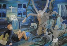 ДХШ Дипломные работы  Иллюстрация к роману Ф М Достоевского Преступление и наказание 2015 г Гуашь преп Щёлокова Ю В