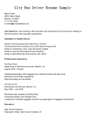 Gallery Of Driver Resumes City Bus Driver Resume Sample Driving