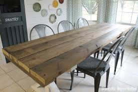 picnic style dining table made from rustic poplar